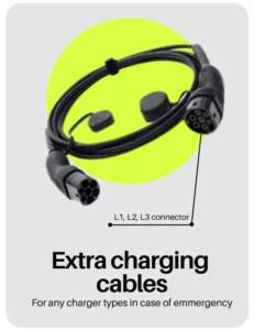 electric car and EVs charging cables and connectors to buy in India with a long black electric vehicle charging cable