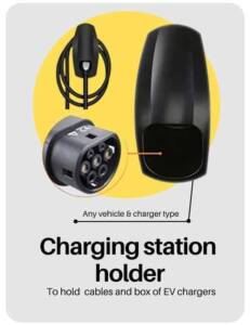 Electric car charger holder to hold electric car charging station and charger cables in place