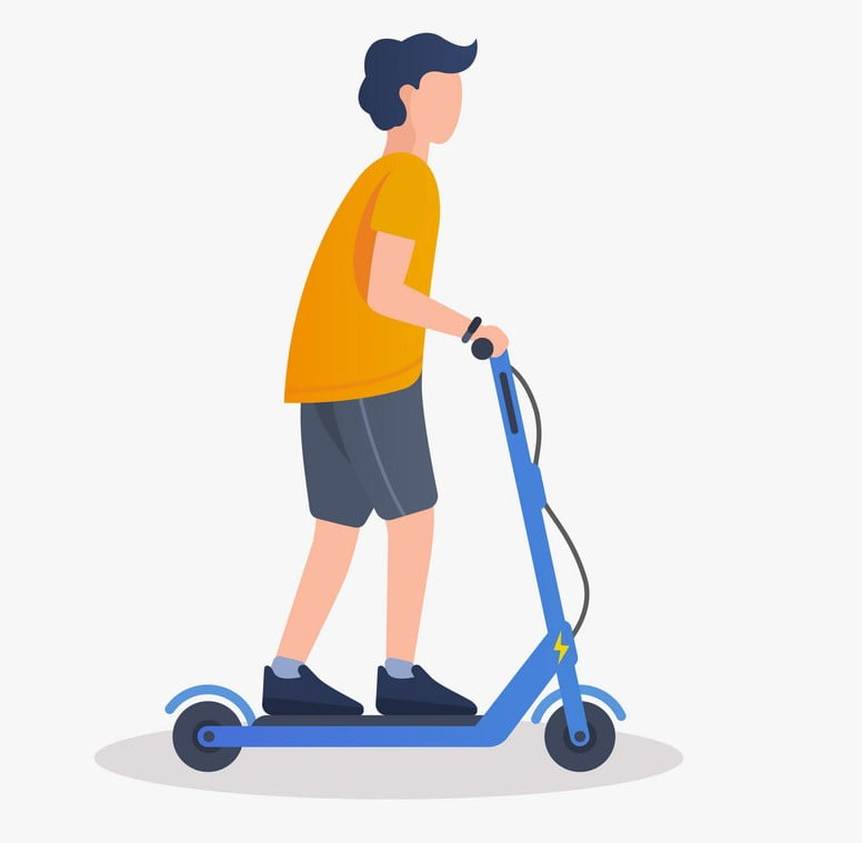 A young boy riding ecogears electric scooter on rental in India